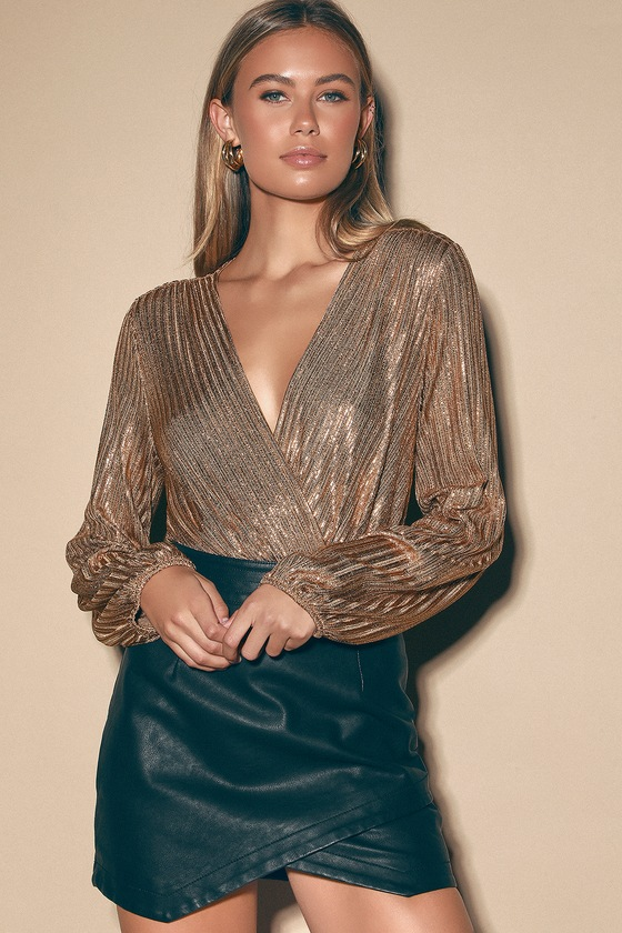 Women's 70s Shirts, Blouses, Hippie Tops Disco Dance Black Metallic Long Sleeve Surplice Bodysuit  Lulus $49.00 AT vintagedancer.com