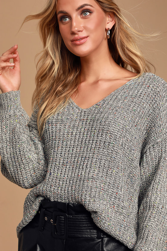 Caring Kisses Heather Grey V Neck Knit Confetti Sweater