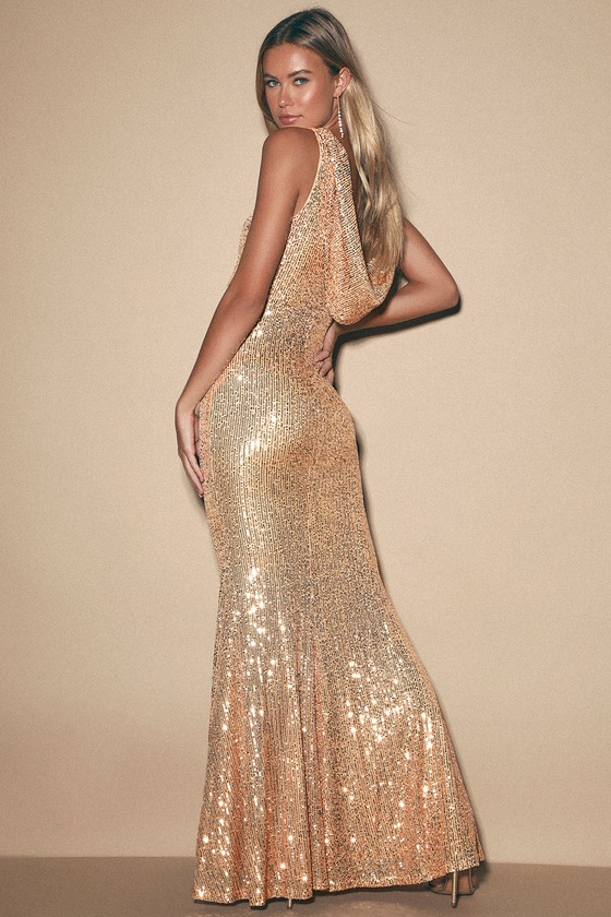 70s Prom, Formal, Evening, Party Dresses Forever Glam Gold Sequin Mermaid Maxi Dress - Lulus $92.00 AT vintagedancer.com