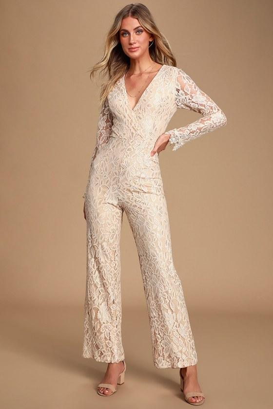60s Wedding Dresses | 70s Wedding Dresses Big Spender Cream Lace Long Sleeve Jumpsuit - Lulus $34.00 AT vintagedancer.com