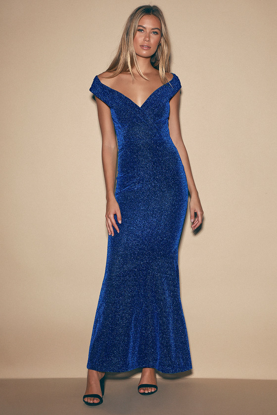 Starry Skies Royal Blue Sparkly Off-the-Shoulder Maxi Dress