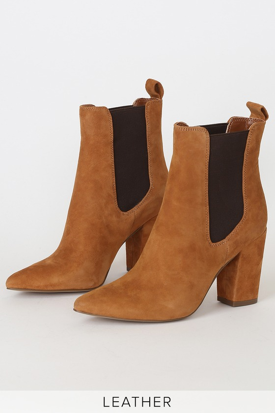 Subtle Chestnut Genuine Suede Leather Pointed-Toe High Heel Booties
