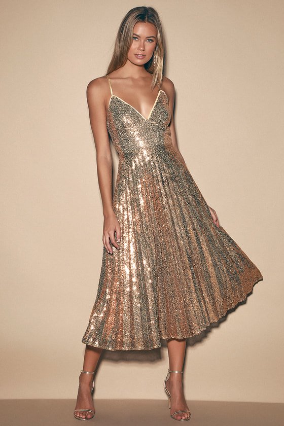 Vintage Cocktail Dresses, Party Dresses Vision of Elegance Rose Gold Sequin Pleated Midi Dress - Lulus $92.00 AT vintagedancer.com