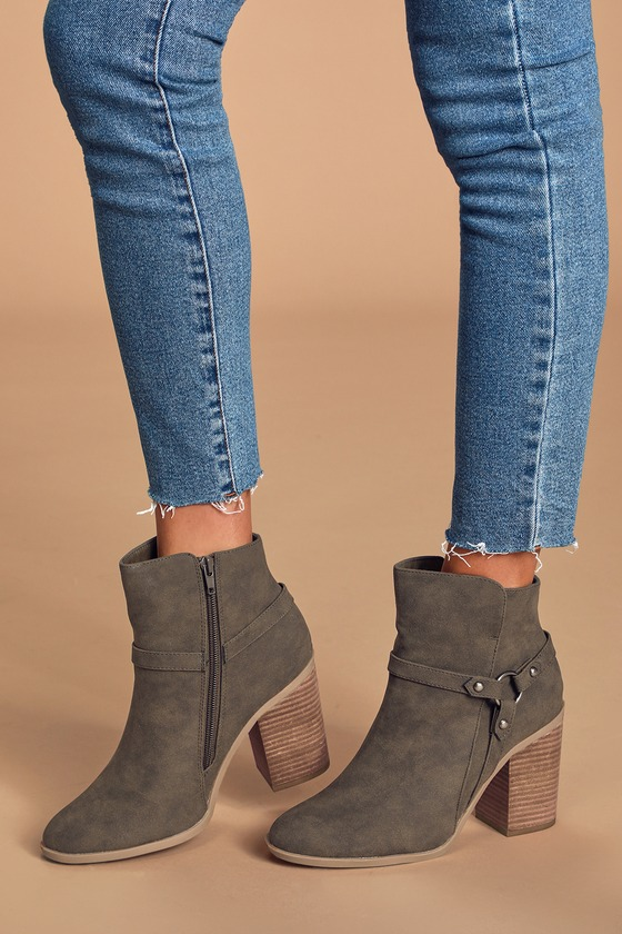 Marka Olive Green Nubuck Ankle Booties