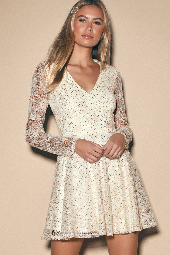 Sweetly Admired Cream Sequin Lace Long Sleeve Skater Dress