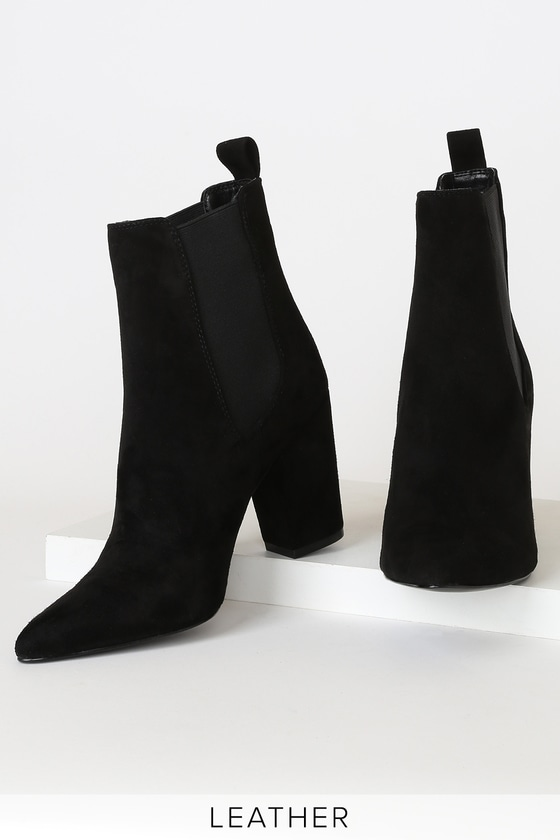 Subtle Black Genuine Suede Leather Pointed-Toe High Heel Booties