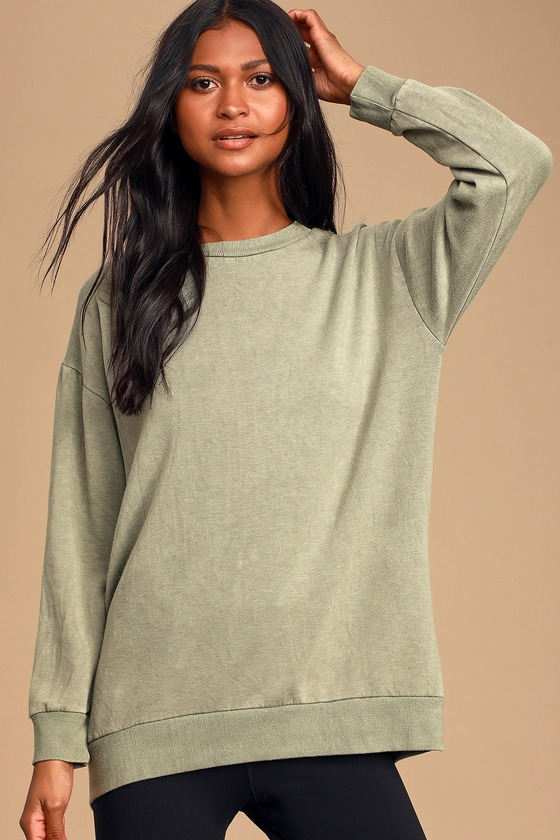Chill Vibes Washed Olive Green Tunic Sweatshirt by Lulus