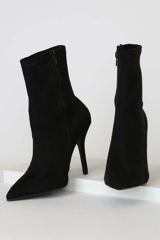 Stassy Black Suede Pointed-Toe Sock High Heel Boots