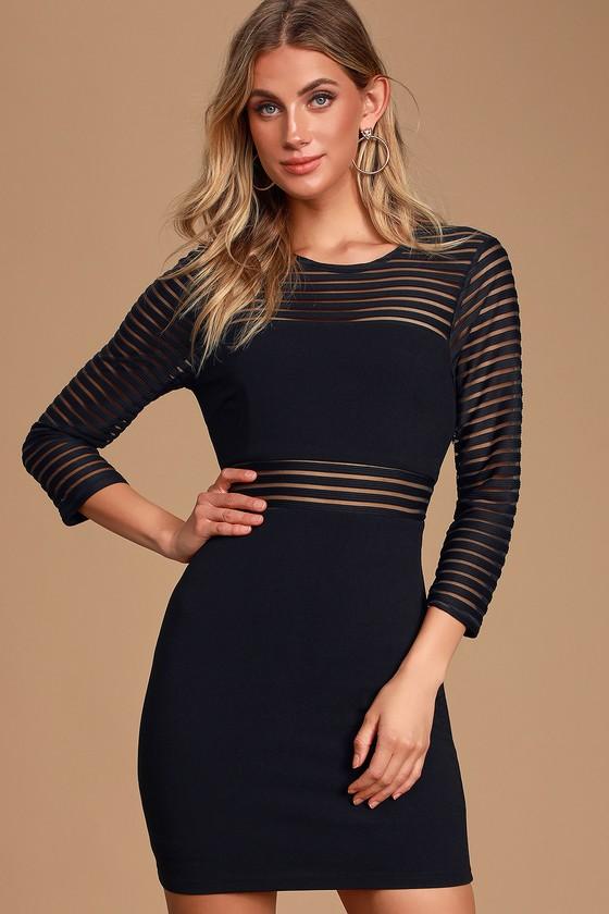 Perfect Mesh Black Bodycon Dress