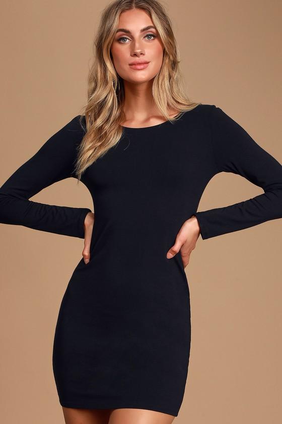 Black Mini Dress - Black Bodycon Dress - Long Sleeve Mini Dress