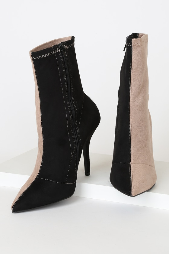 Stassy II Black and Taupe Color Block Pointed-Toe Sock High Heel Boots