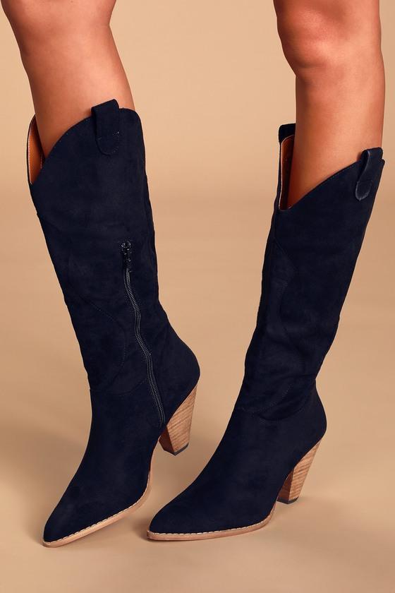 Klarissa Black Suede Pointed-Toe Knee High High Heel Boots