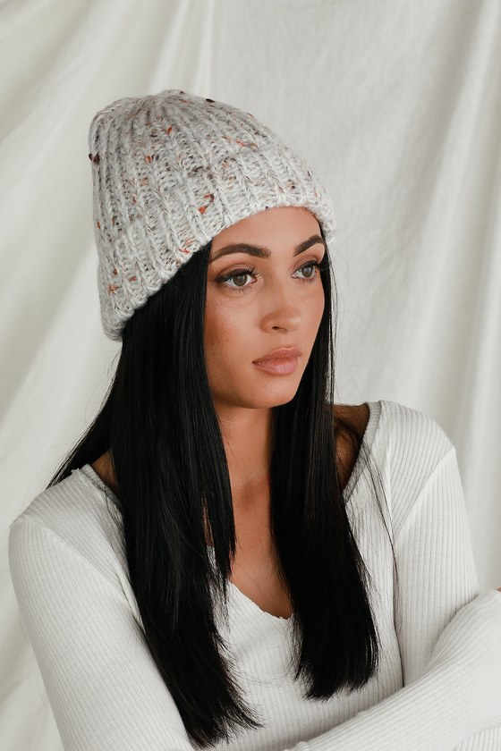 Cold days don\'t stand a chance when you have the Lulus Morning Mist Beige Multi Knit Beanie! Soft knit, with brown, orange, and burgundy threading throughout, shapes this must-have beanie with a fold-over cuff. Pair this beanie with a fuzzy sweater and cozy socks for a super cozy look! 9\