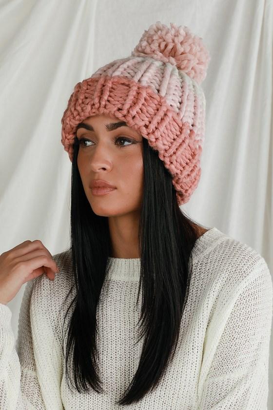 Snuggly Vibes Pink Multi Colorblock Knit Pom Pom Beanie