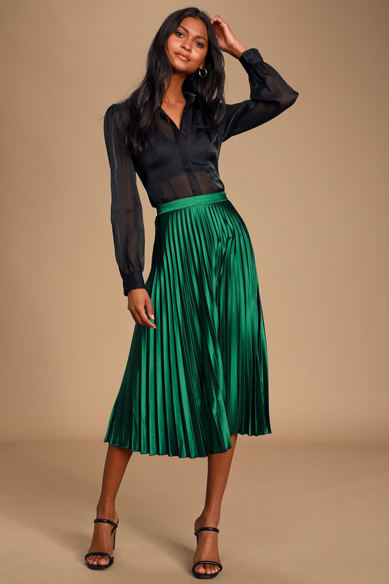 classic chic novel style new varieties Fashionable Babe Emerald Green Satin Pleated Midi Skirt