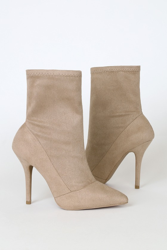 Stassy Taupe Suede Pointed-Toe Sock High Heel Boots