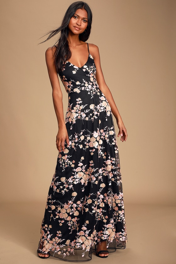 Glory and Glitz Black Floral Sequin Lace-Up Maxi Dress