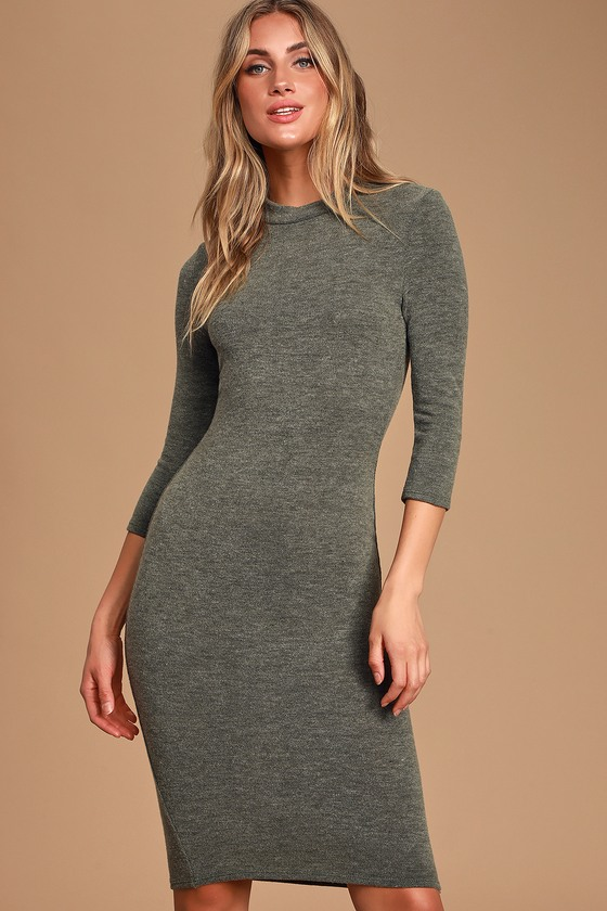 Conversation Starter Olive Green Mock Neck Midi Sweater Dress