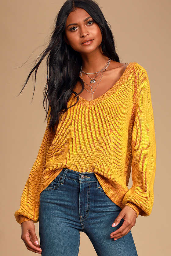 Cozy Commitment Mustard Yellow V Neck Knit Sweater