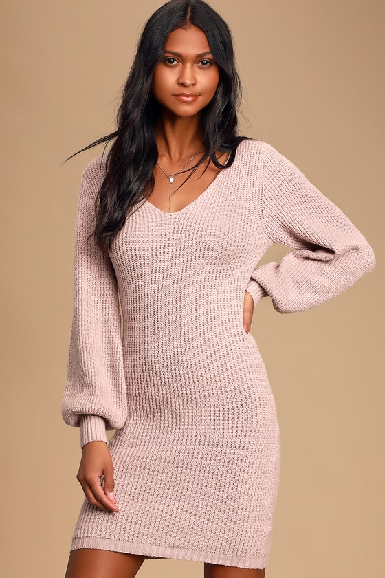 Heart Of Mine Lavender Balloon Sleeve Knit Sweater Dress