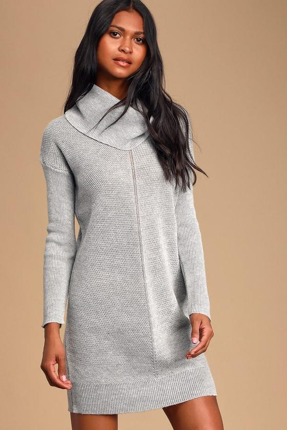 Cute Grey Knit Dress - Cowl Neck Dress - Long Sleeve Dress - Knit Dress