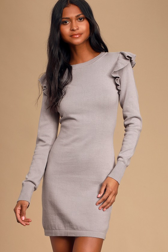 Sweater Weather Dusty Lavender Ruffled Long Sleeve Sweater Dress - Lulus