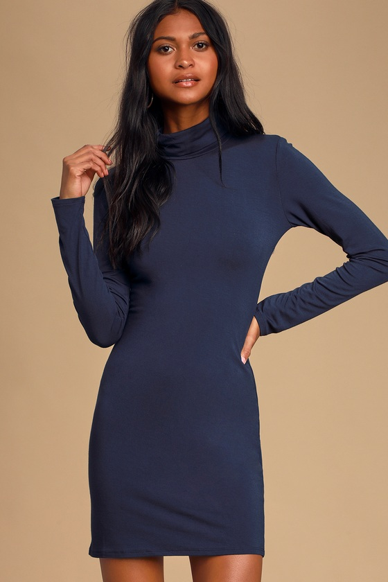 High Hopes Navy Blue Long Sleeve Bodycon Dress - Lulus