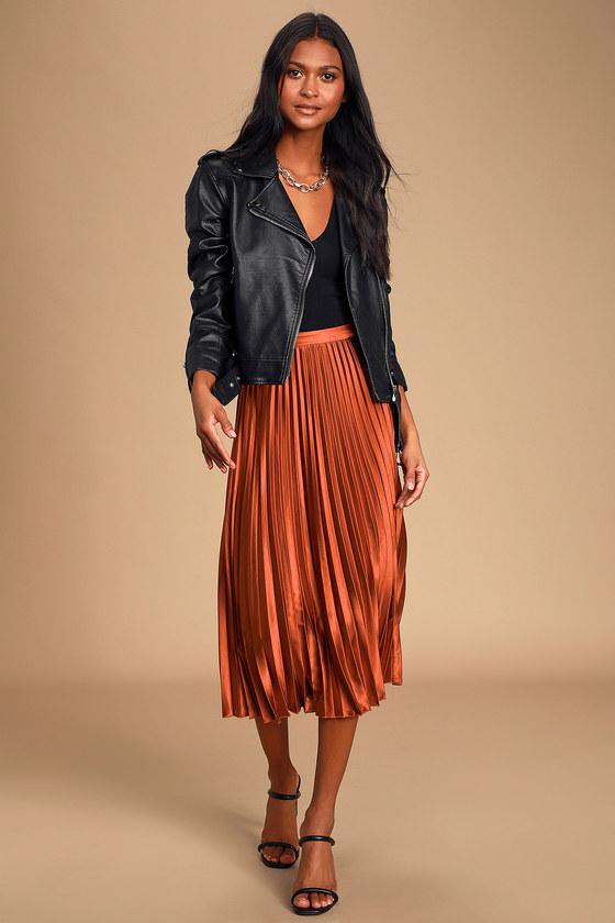 Fashionable Babe Rust Brown Satin Pleated Midi Skirt