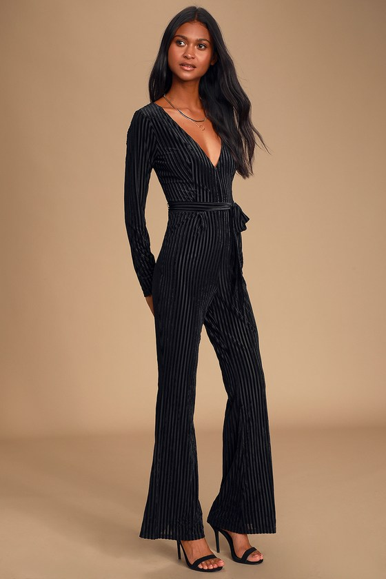 Striking a Pose Black Velvet Striped Long Sleeve Jumpsuit