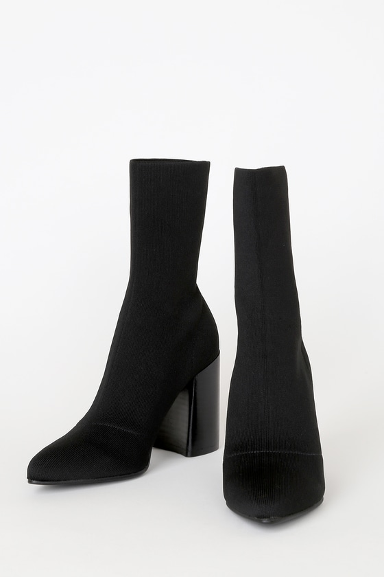 Trent Black Pointed-Toe Sock High Heel Boots