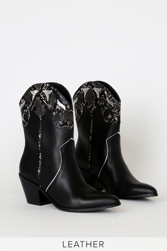 Say hello to an on-trend fall look in the in the Steve Madden Howdy Black Leather Western Boots! Smooth genuine leather creates a pointed toe upper, and a Western-inspired, cutout-look ankle high shaft, featuring shiny silver and snake-embossed accents. 2. 75\