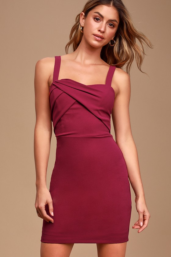 Sweetest Moments Magenta Ruched Bodycon Dress