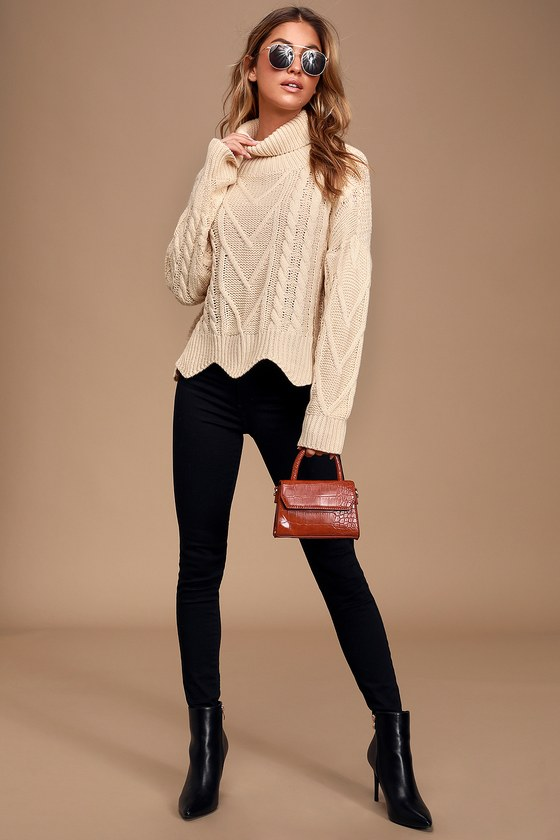 Call Me Cozy Cream Cable Knit Turtleneck Sweater