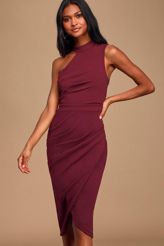 Apple of My Eye Burgundy Asymmetrical Midi Dress
