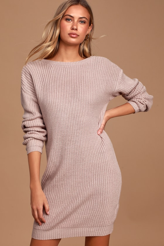 Bringing Sexy Back Mauve Backless Sweater Dress - Lulus