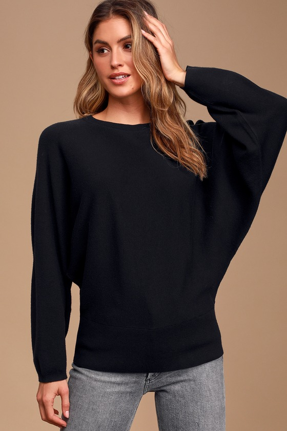Image of You're the One Black Knit Dolman Sleeve Sweater - Lulus
