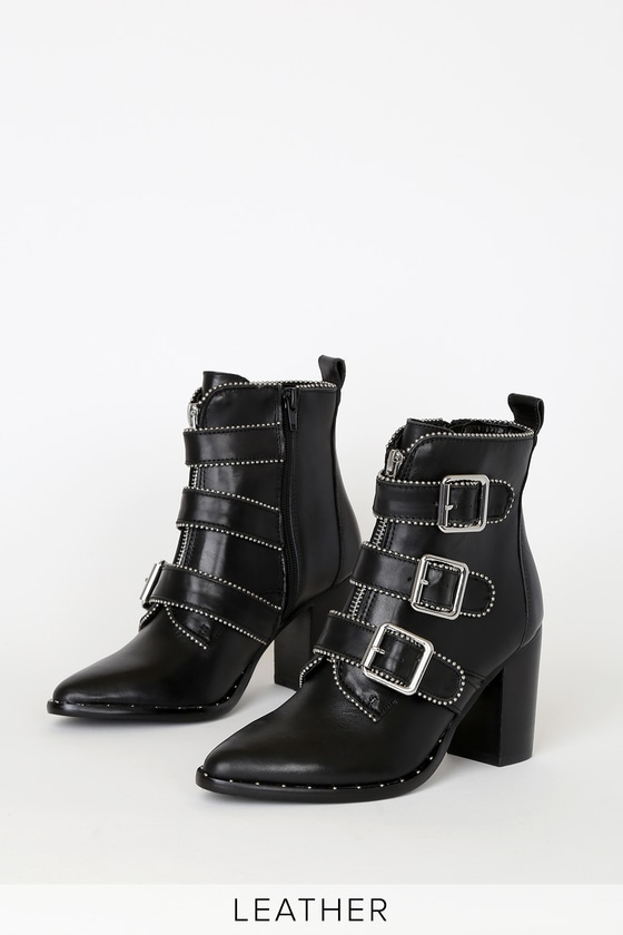 Hattie Black Leather Buckled Ankle Boots