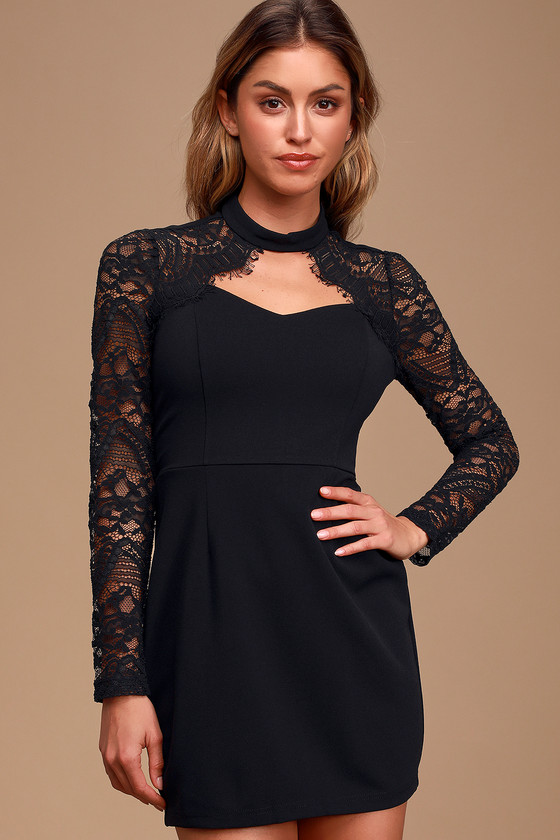 Cherished Lover Black Lace Long Sleeve Bodycon Mini Dress