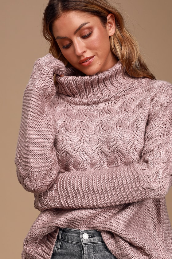 Illa Illa Adoring Heart Dusty Lavender Knit Turtleneck Sweater