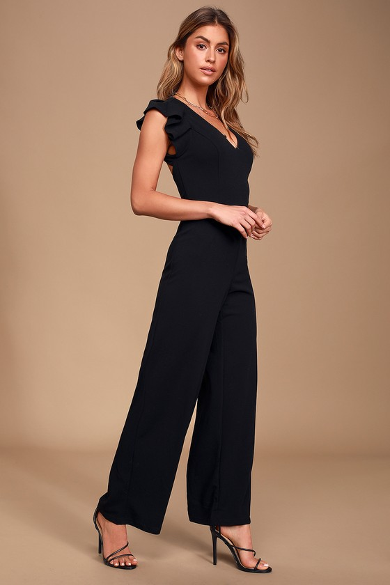 Power Play Black Ruffled Backless Wide-Leg Jumpsuit