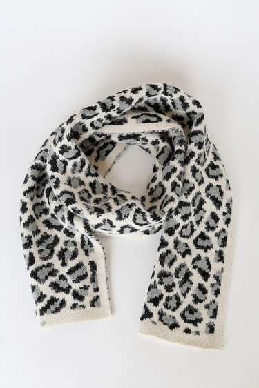Cat Out of The Bag Cream Leopard Print Scarf