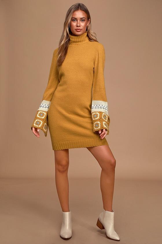 It's Groovy Mustard Yellow Multi Knit Turtleneck Sweater Dress