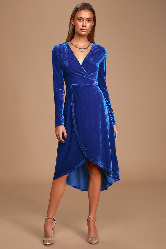 1940s Dresses | 40s Dress, Swing Dress, Tea Dresses Silver Screen Cobalt Blue Velvet Long Sleeve Midi Dress  Lulus $54.00 AT vintagedancer.com