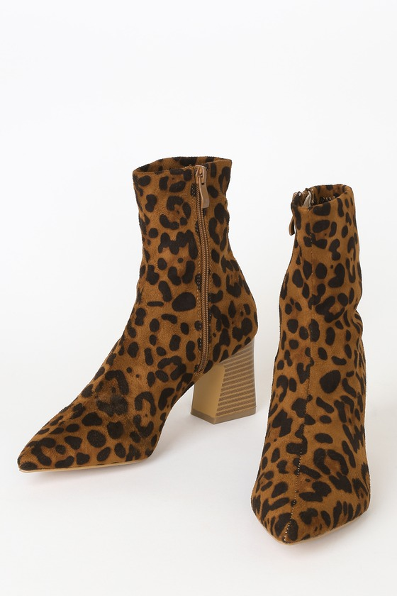 Eva Leopard Suede Pointed-Toe Sock High Heel Boots