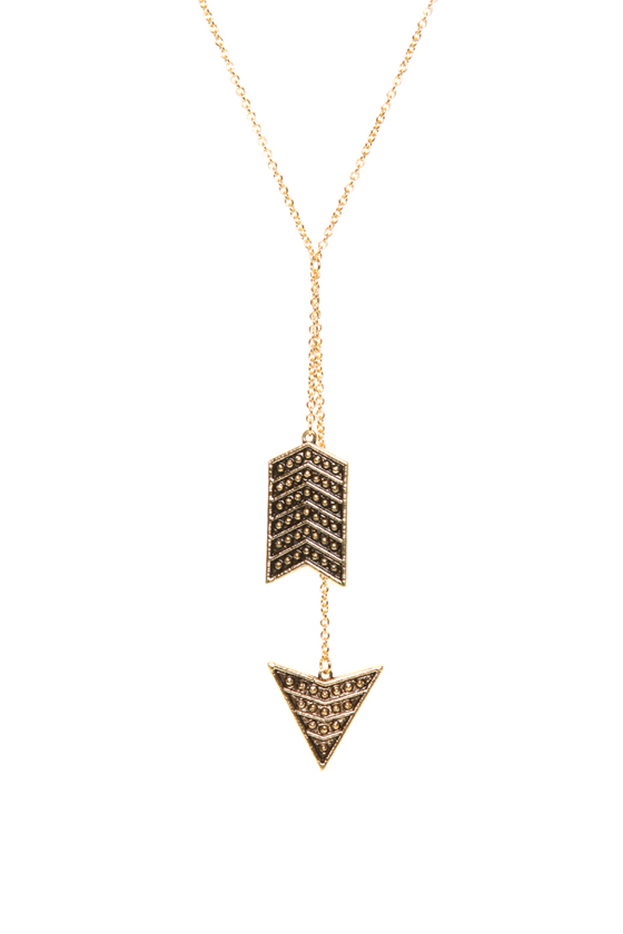 Tell Me Y Gold Arrow Necklace
