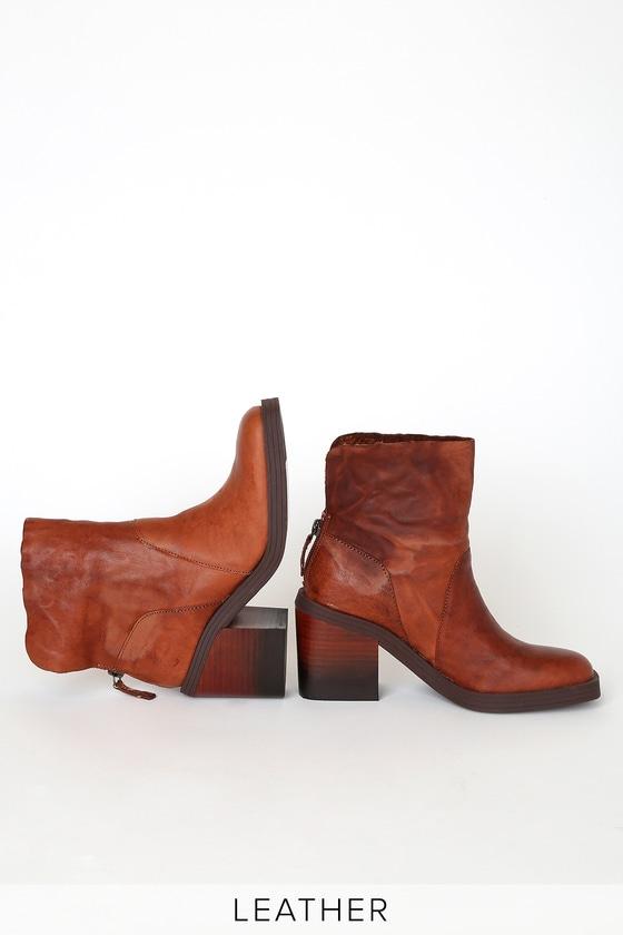 Westward Cognac Leather Square Toe Mid-Calf High Heel Boots