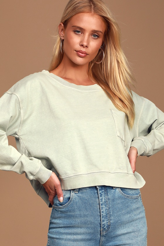 Pure Bliss Washed Sage Green Cropped Sweatshirt