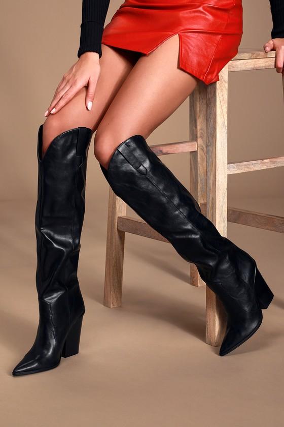 Ranger Black Western Knee-High High Heel Boots