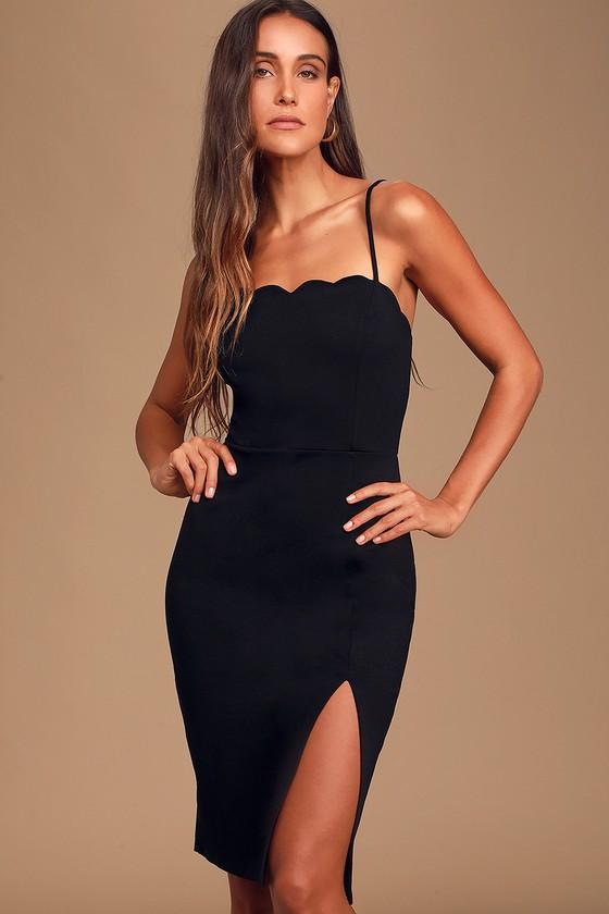 Perfect Date Black Scalloped Bodycon Dress