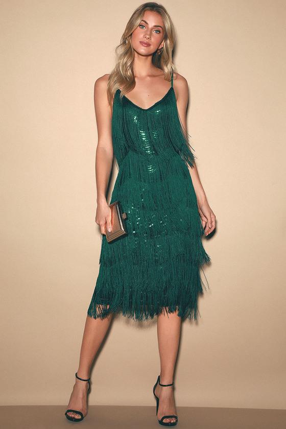 Great Gatsby Dress – Great Gatsby Dresses for Sale Winning Streak Emerald Green Sequin Fringe Midi Dress - Lulus $89.00 AT vintagedancer.com